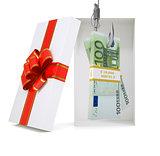 Euro in gift box on white
