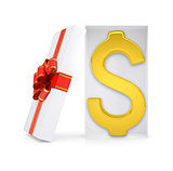 Dollar symbol in gift box