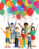 Children celebrate with balloons