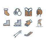 Winter season icon set