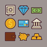 Bank and Money Items Modern Flat Icons Set