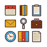 Business and Office Life Items Modern Flat Icons Set