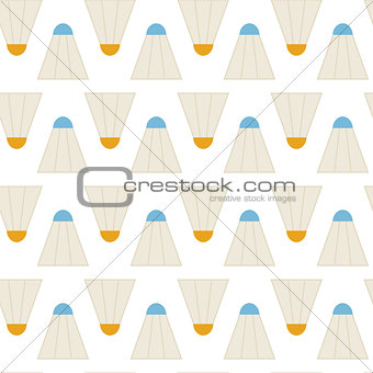 Flat Vector Seamless Pattern Sport Badminton Shuttlecocks