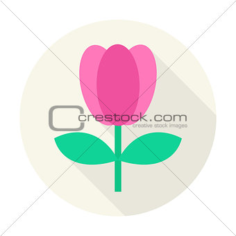 Flat Nature Tulip Flower Circle Icon with Long Shadow