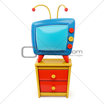 3d Tv cartoon on a dresser  isolated on white background