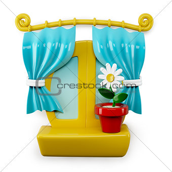 3d Cartoon Home Window Isolated on White Background