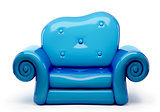 3d sofa cartoon isolated on white