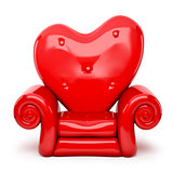 3d red sofa cartoon on heart shape isolated on white