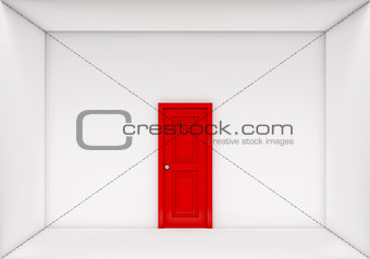 single red door closed on white box