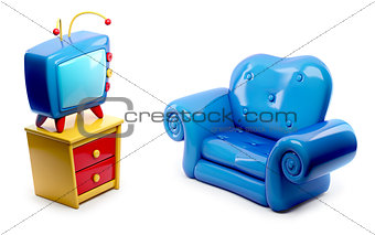 3d Tv with blue sofa cartoon isolated on white background