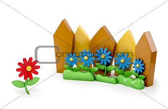 3d cartoon Red flower Stand out of a crowd - individuality