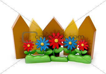 3d cartoon fence with garden flowers