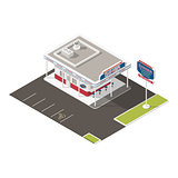 Roadside american diner isometric icons set