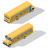 School bus detailed isometric icons set frond and rear view