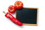 vegetable and blank chalkboard