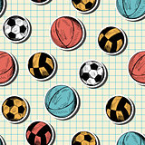 Seamless pattern with hand drawn different sport balls