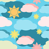 Vector seamless pattern with clouds and sun