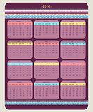 Calendar 2016 starting from sunday