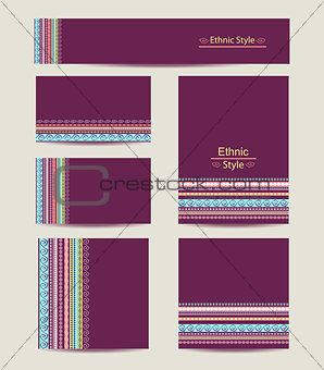 Corporate Identity vector templates set  with ethnic design.