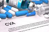 CVA Diagnosis. Medical Concept. Composition of Medicaments.