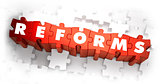 Reforms - White Word on Red Puzzles.