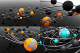 Model Atom with Globe - Set of 3D Illustrations.