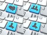 E-Dating Concept - Blue Button on Keyboard.