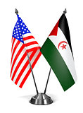 USA and Sahrawi Arab Democratic Republic - Miniature Flags.