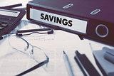 Savings on Office Folder. Toned Image.