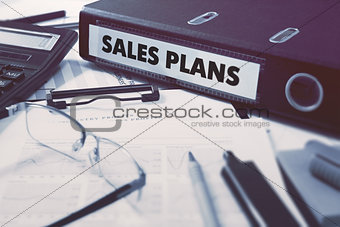 Ring Binder with inscription Sales Plans.