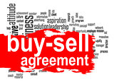 Buy-sell agreement word cloud with red banner