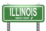 Illinois green sign board isolated