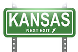 Kansas green sign board isolated