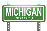 Michigan green sign board isolated