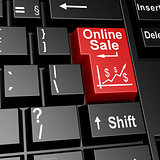 Online sale word on the red enter keyboard