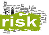Risk word cloud with green banner