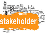 Stakeholder word cloud with yellow banner