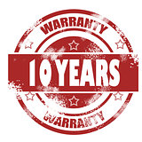 Ten years warranty grunge stamp