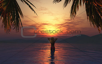 3D female in the sea at sunset