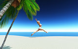 3D female in bikini jumping on a tropical beach