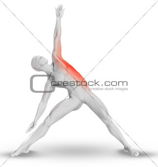 3D male figure in yoga pose with stretched side highlighted