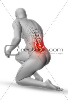 3D male medical figure in kneeling position