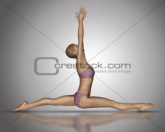 3D female figure in yoga splitsposition