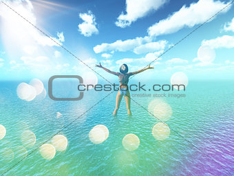 3D female in tropical sea with retro effect