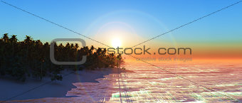 3D widecreen palm tree island at sunset