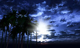 3D palm trees against a moonlit sky
