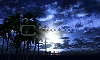 3D palm trees against a moonlit sky
