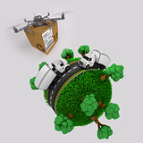 Quadcopter drone with parcel flying over grassy globe with truck
