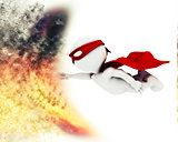 3D superhero with blast special effect