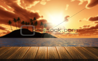 3D background of a wooden table looking out to a palm tree islan